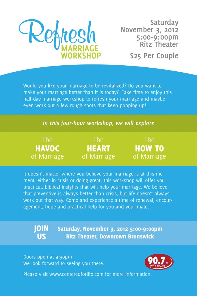 Refresh Marriage Workshop - Flier - 2012-11-03